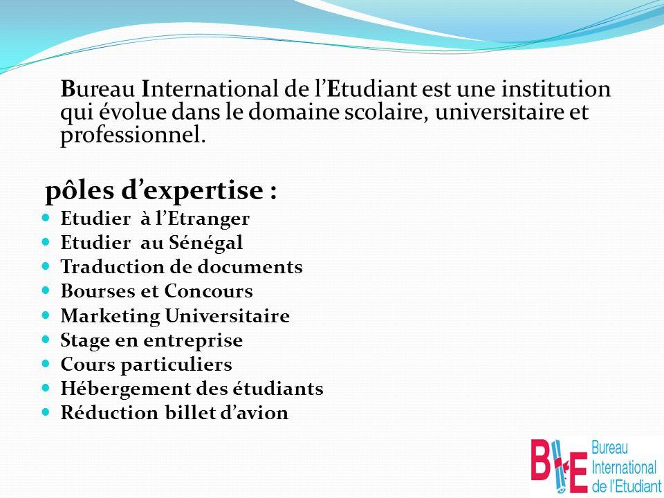 Bureau International de lEtudiant est une institution qui évolue dans le domaine scolaire, universitaire et professionnel.