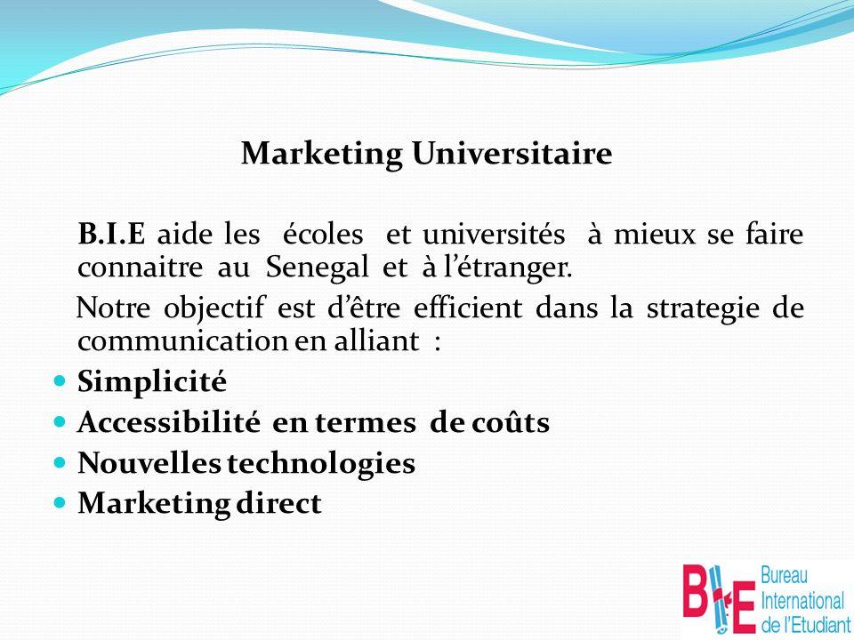 Marketing Universitaire B.I.E aide les écoles et universités à mieux se faire connaitre au Senegal et à létranger.