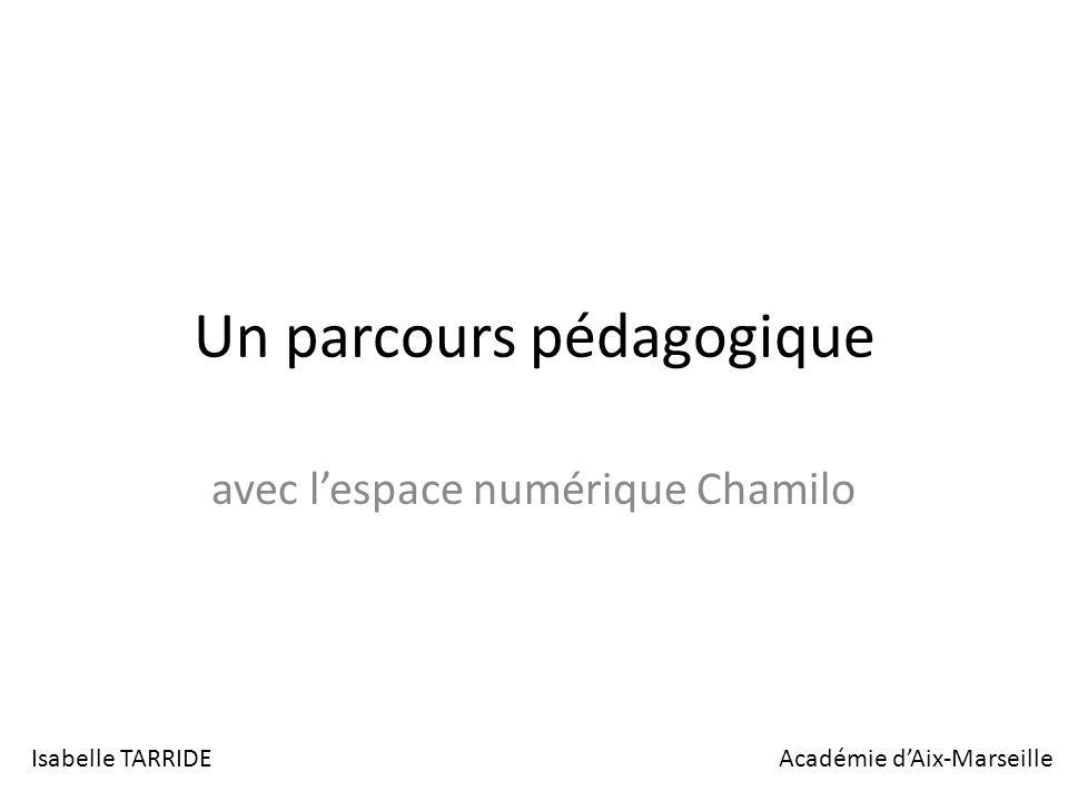 Un parcours pédagogique avec lespace numérique Chamilo Isabelle TARRIDEAcadémie dAix-Marseille