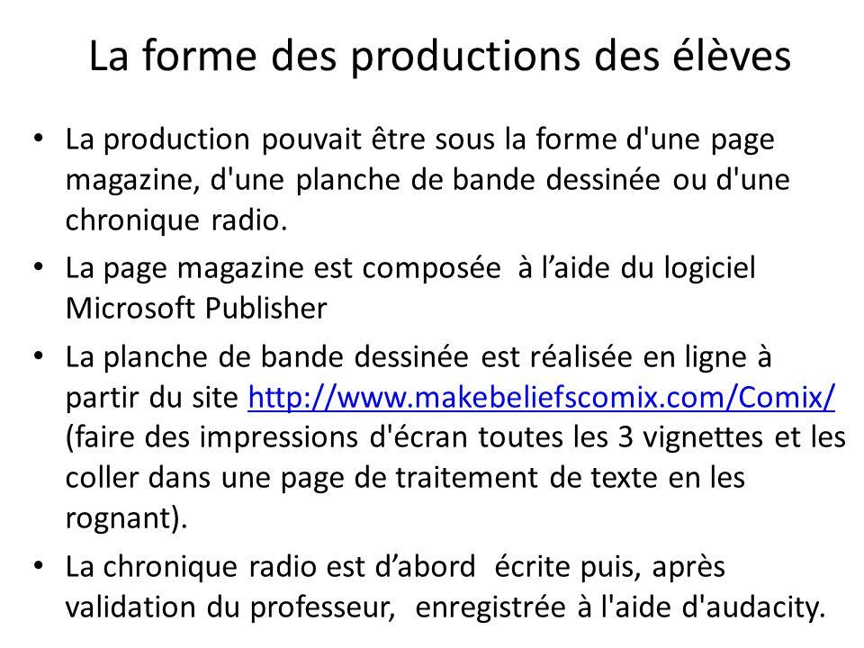 La forme des productions des élèves La production pouvait être sous la forme d'une page magazine, d'une planche de bande dessinée ou d'une chronique r