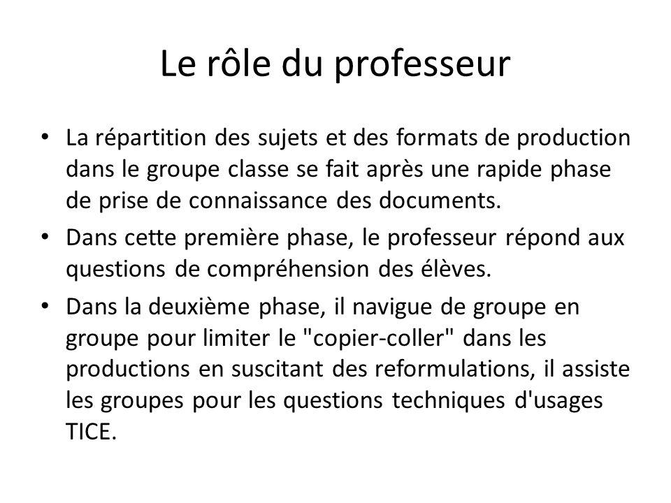 Le rôle du professeur La répartition des sujets et des formats de production dans le groupe classe se fait après une rapide phase de prise de connaiss