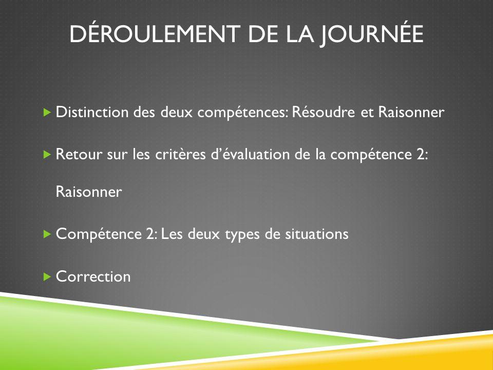 LA CORRECTION DES SITUATIONS DE COMPÉTENCE 2: RAISONNER À L'AIDE DE CONCEPTS ET DE PROCESSUS MATHÉMATIQUES 5 novembre 2013