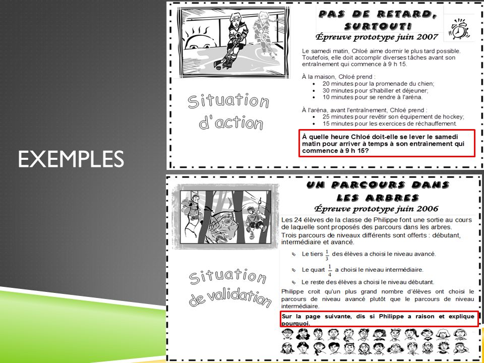 SITUATIONS DACTION OU DE VALIDATION Situation dapplication (compétence Raisonner) Situation dactionSituation de validation Lélève est invité à: -chois