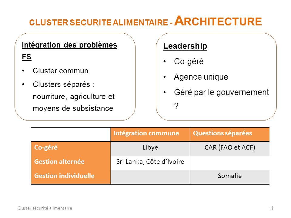 11 CLUSTER SECURITE ALIMENTAIRE - A RCHITECTURE Cluster sécurité alimentaire Intégration des problèmes FS Cluster commun Clusters séparés : nourriture