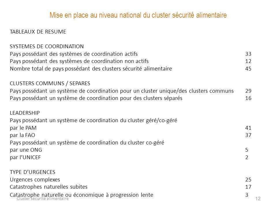 12 Cluster sécurité alimentaire Mise en place au niveau national du cluster sécurité alimentaire TABLEAUX DE RESUME SYSTEMES DE COORDINATION Pays poss