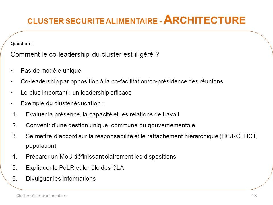 13 CLUSTER SECURITE ALIMENTAIRE - A RCHITECTURE Cluster sécurité alimentaire Question : Comment le co-leadership du cluster est-il géré .