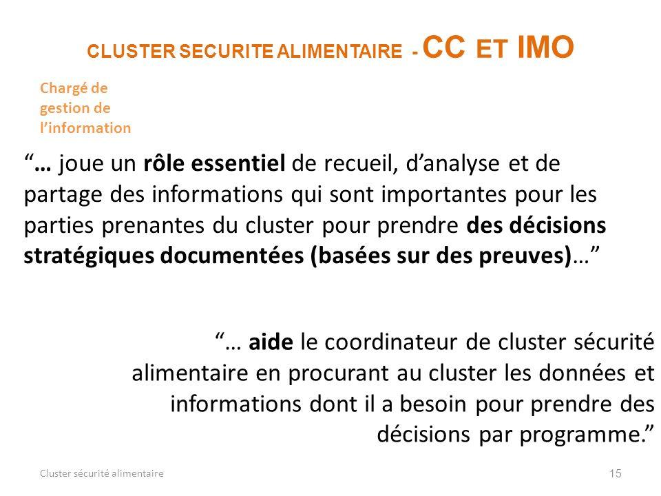 15 CLUSTER SECURITE ALIMENTAIRE - CC ET IMO Cluster sécurité alimentaire … joue un rôle essentiel de recueil, danalyse et de partage des informations