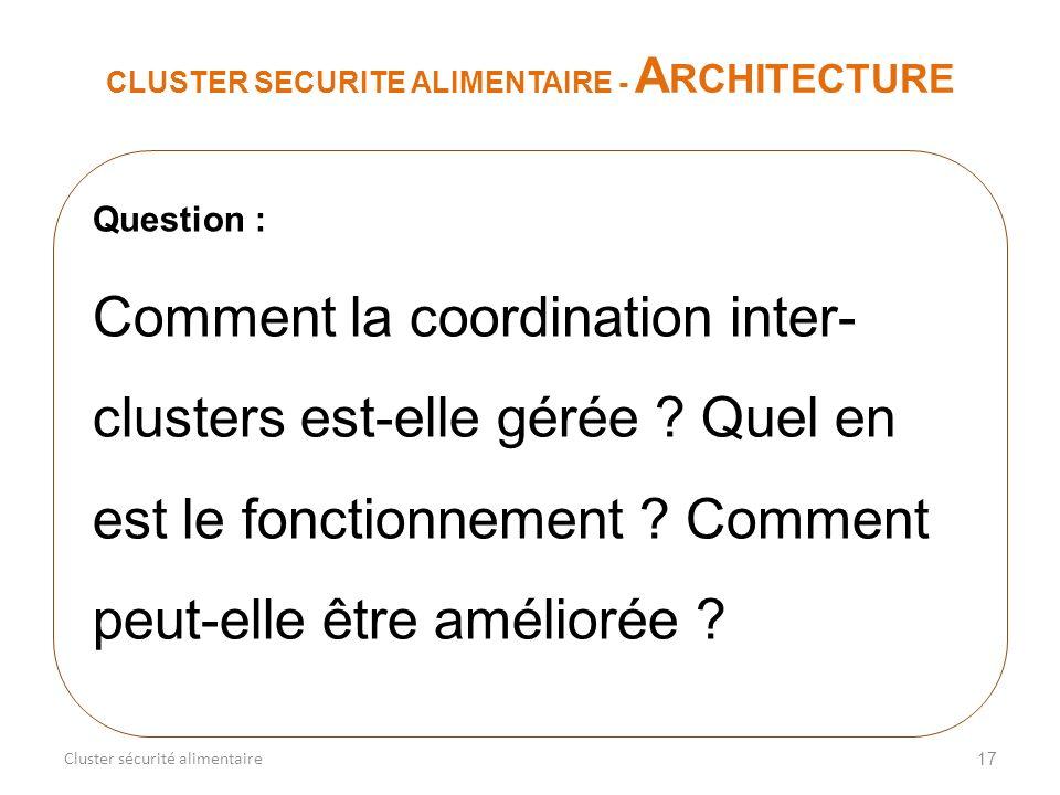 17 CLUSTER SECURITE ALIMENTAIRE - A RCHITECTURE Cluster sécurité alimentaire Question : Comment la coordination inter- clusters est-elle gérée ? Quel
