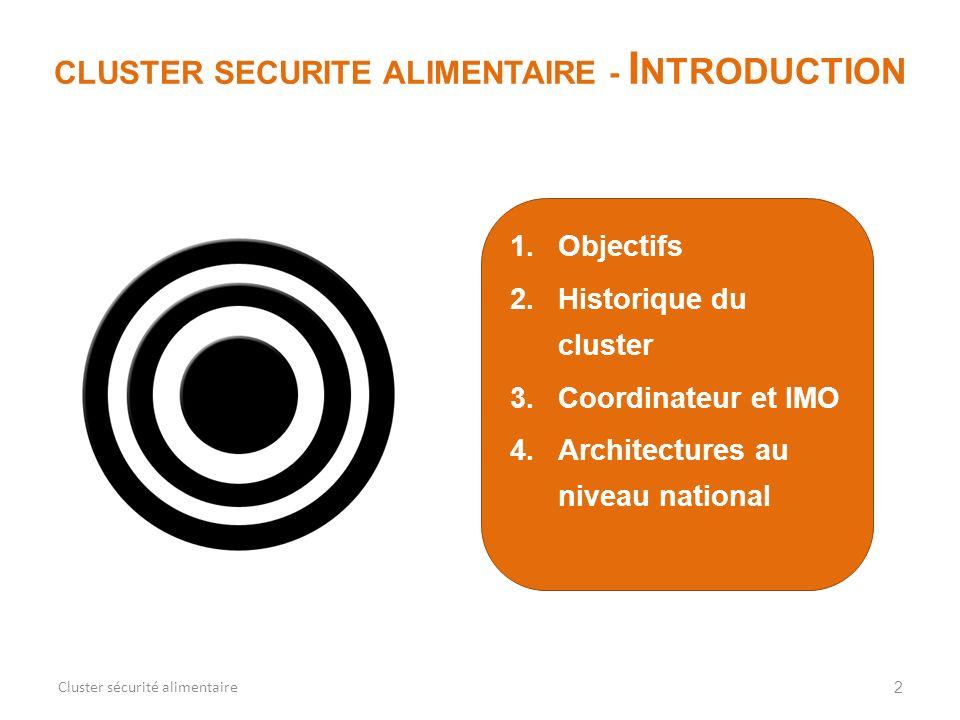 1.Objectifs 2.Historique du cluster 3.Coordinateur et IMO 4.Architectures au niveau national 2 CLUSTER SECURITE ALIMENTAIRE - I NTRODUCTION Cluster sé