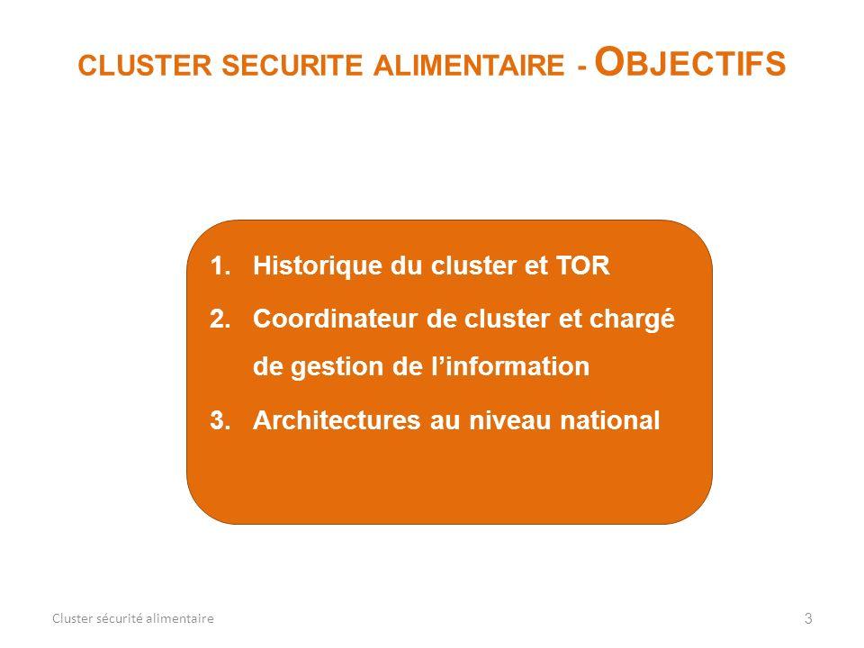 1.Historique du cluster et TOR 2.Coordinateur de cluster et chargé de gestion de linformation 3.Architectures au niveau national 3 CLUSTER SECURITE AL