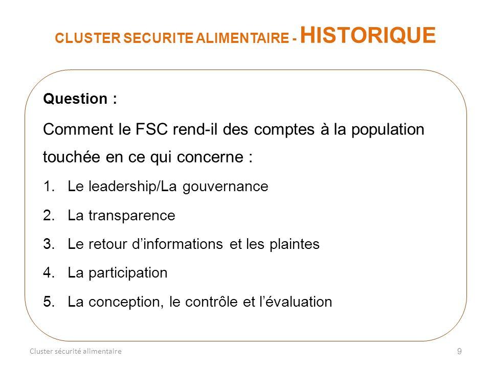 9 CLUSTER SECURITE ALIMENTAIRE - H ISTORIQUE Cluster sécurité alimentaire Question : Comment le FSC rend-il des comptes à la population touchée en ce