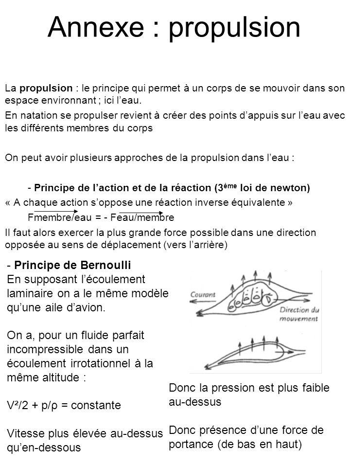 Annexe : propulsion La propulsion : le principe qui permet à un corps de se mouvoir dans son espace environnant ; ici leau. En natation se propulser r