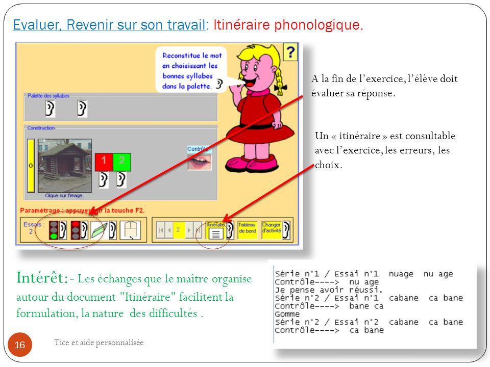 Evaluer, Revenir sur son travail: Itinéraire phonologique.