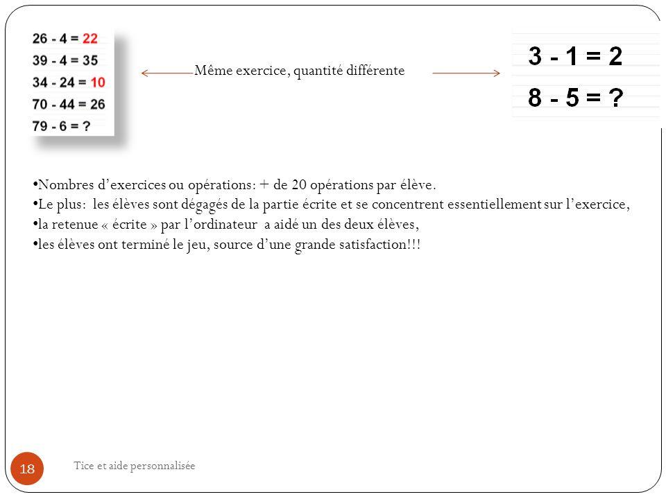 Tice et aide personnalisée 18 Nombres dexercices ou opérations: + de 20 opérations par élève.