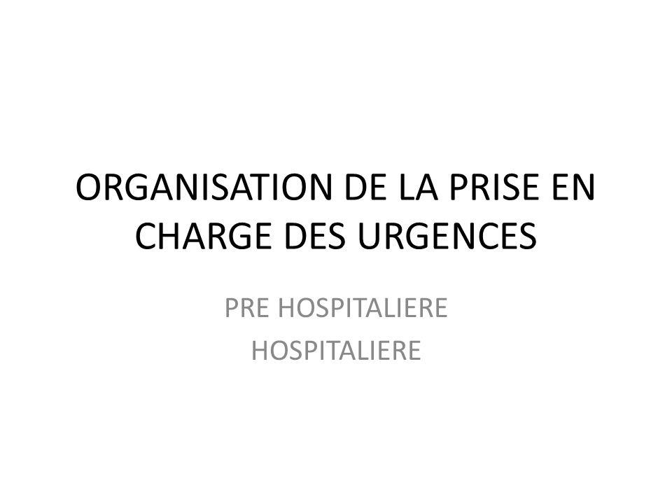 ORGANISATION DE LA PRISE EN CHARGE DES URGENCES PRE HOSPITALIERE HOSPITALIERE