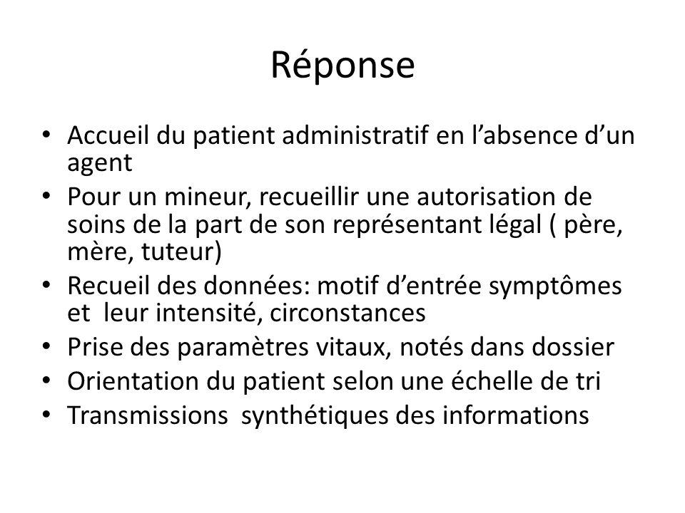 Réponse Accueil du patient administratif en labsence dun agent Pour un mineur, recueillir une autorisation de soins de la part de son représentant lég