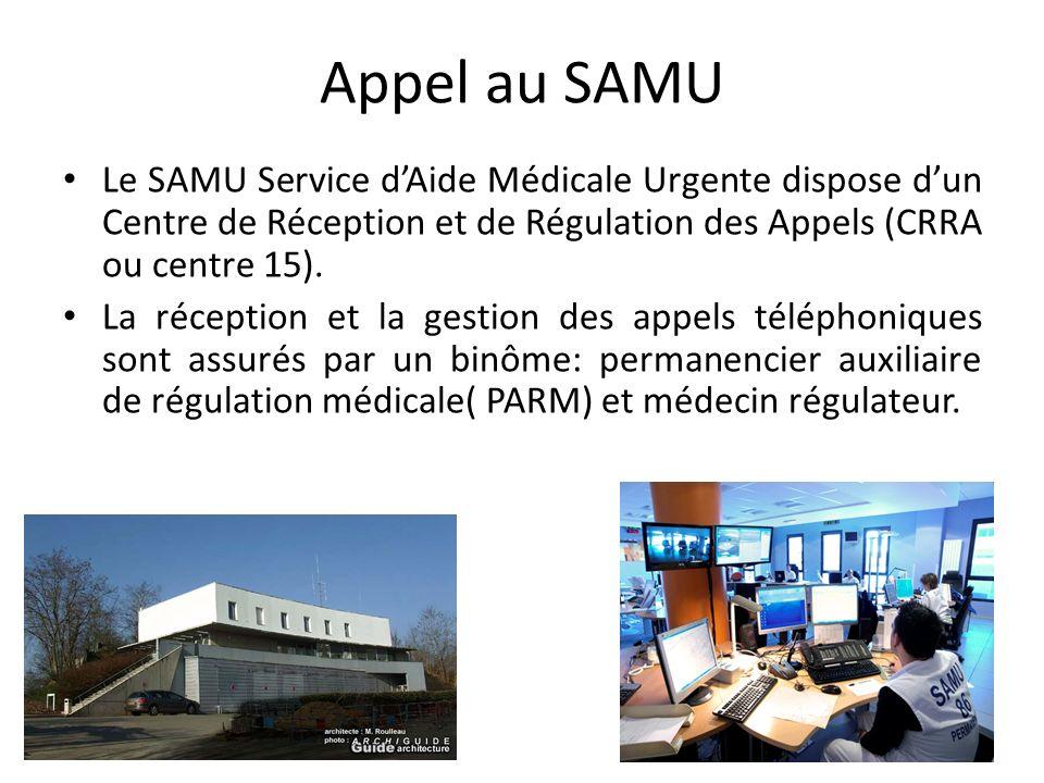 Appel au SAMU Le SAMU Service dAide Médicale Urgente dispose dun Centre de Réception et de Régulation des Appels (CRRA ou centre 15). La réception et