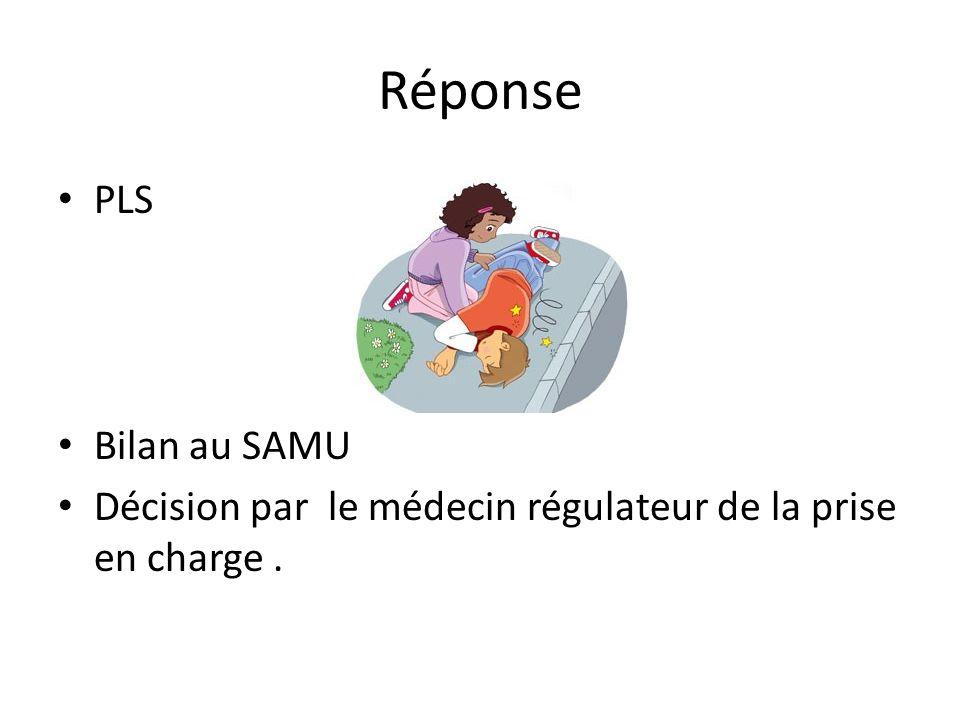 Réponse PLS Bilan au SAMU Décision par le médecin régulateur de la prise en charge.