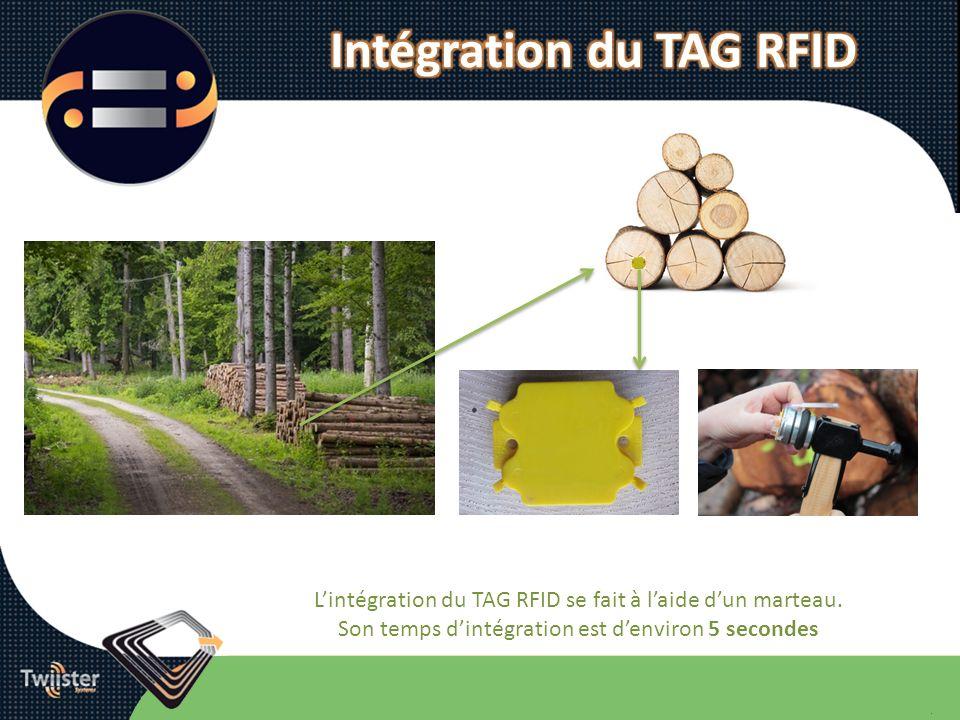 Lintégration du TAG RFID se fait à laide dun marteau. Son temps dintégration est denviron 5 secondes