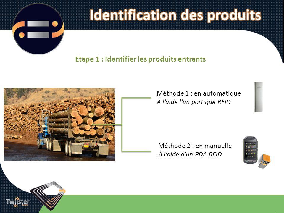 Etape 1 : Identifier les produits entrants Méthode 1 : en automatique À laide lun portique RFID Méthode 2 : en manuelle À laide dun PDA RFID