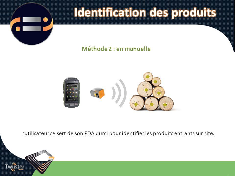 Méthode 2 : en manuelle Lutilisateur se sert de son PDA durci pour identifier les produits entrants sur site.