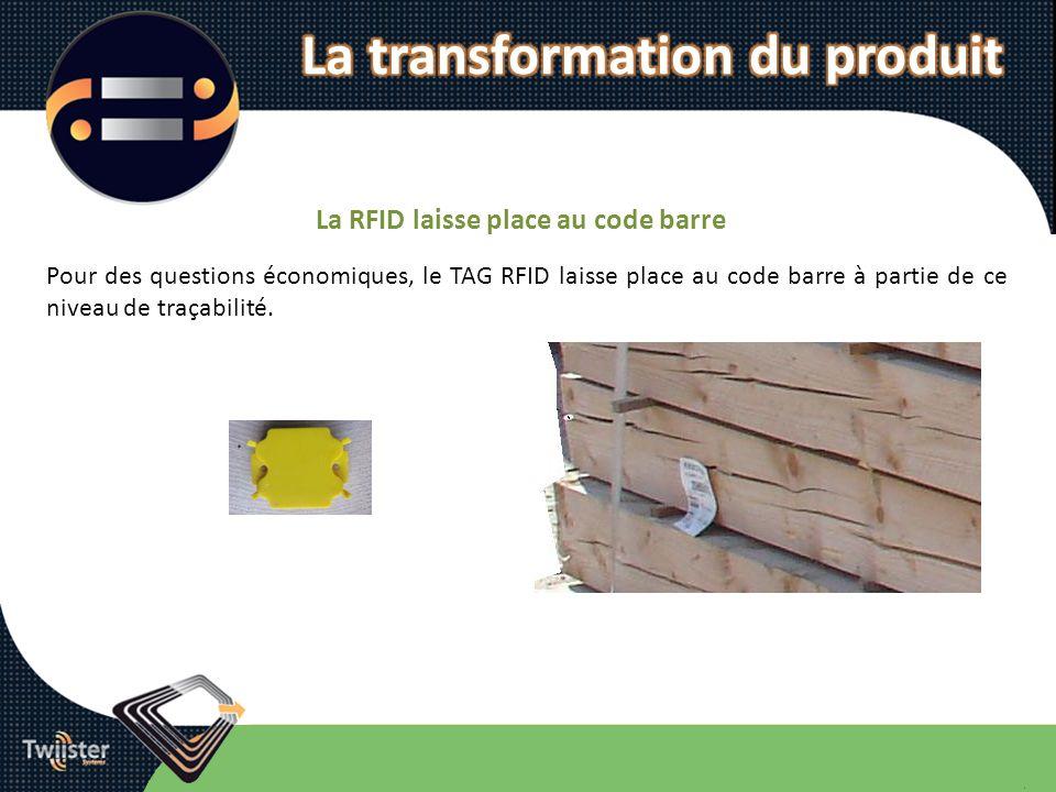 La RFID laisse place au code barre Pour des questions économiques, le TAG RFID laisse place au code barre à partie de ce niveau de traçabilité.
