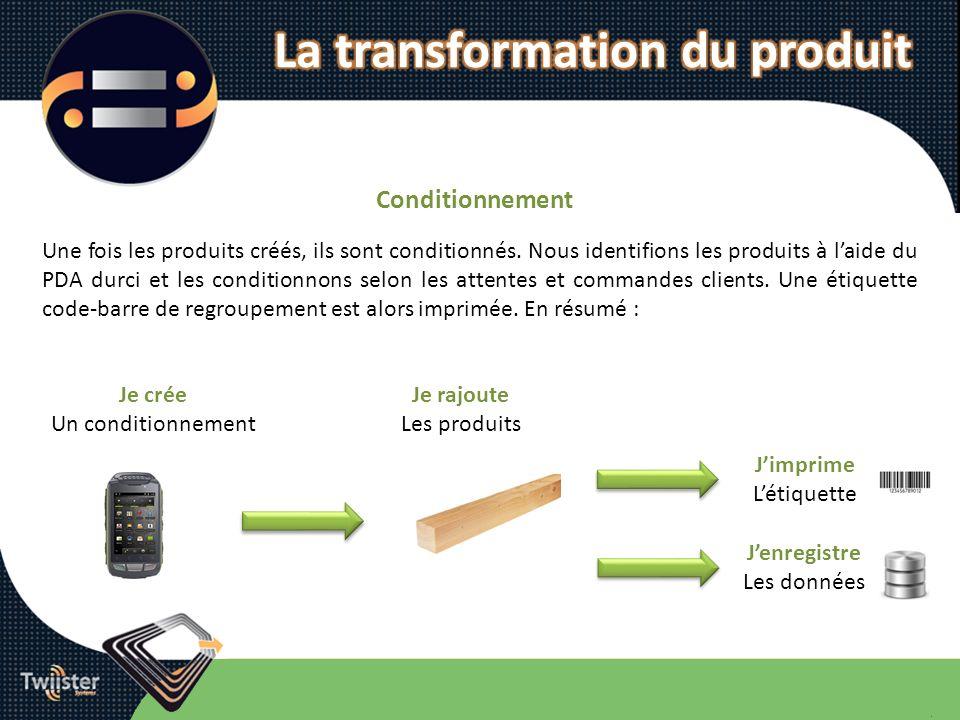 Conditionnement Une fois les produits créés, ils sont conditionnés. Nous identifions les produits à laide du PDA durci et les conditionnons selon les