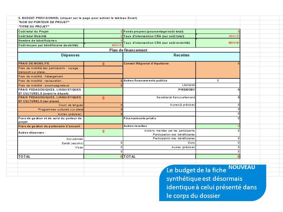 PLATEFORME AQUTIAINE CAP MOBILITE15 Le budget de la fiche synthétique est désormais identique à celui présenté dans le corps du dossier NOUVEAU