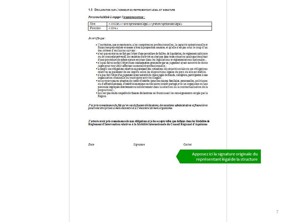 PLATEFORME AQUTIAINE CAP MOBILITE7 Apposez ici la signature originale du représentant légal de la structure