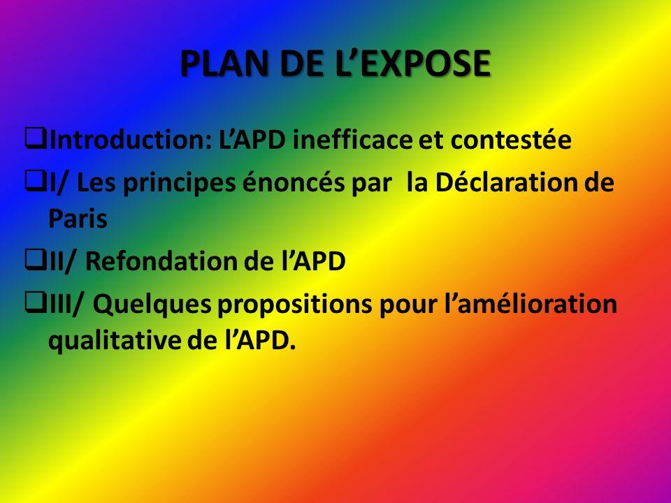 Introduction: LAPD inefficace et contestée Bilan de lAPD Le financement de la transition devrait reposer davantage sur la solidarité des économies développées.