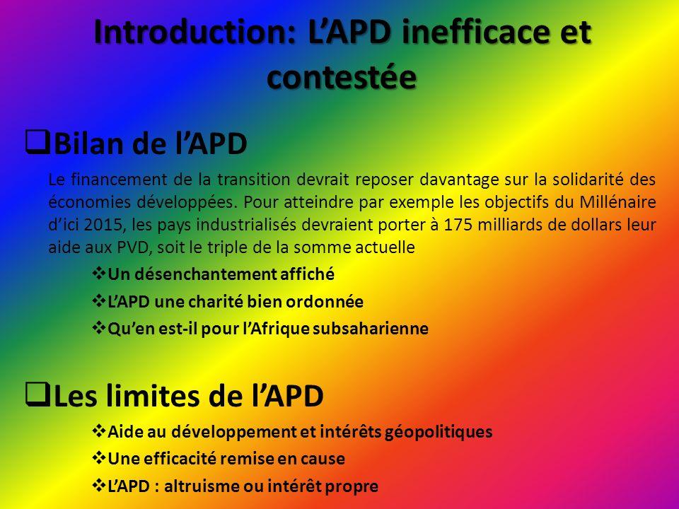 I/ Les principes énoncés par la Déclaration de Paris La Déclaration de Paris sur lefficacité de laide, entérinée en mars 2005, est un accord international conclu entre donateurs et bénéficiaires de lAPD.