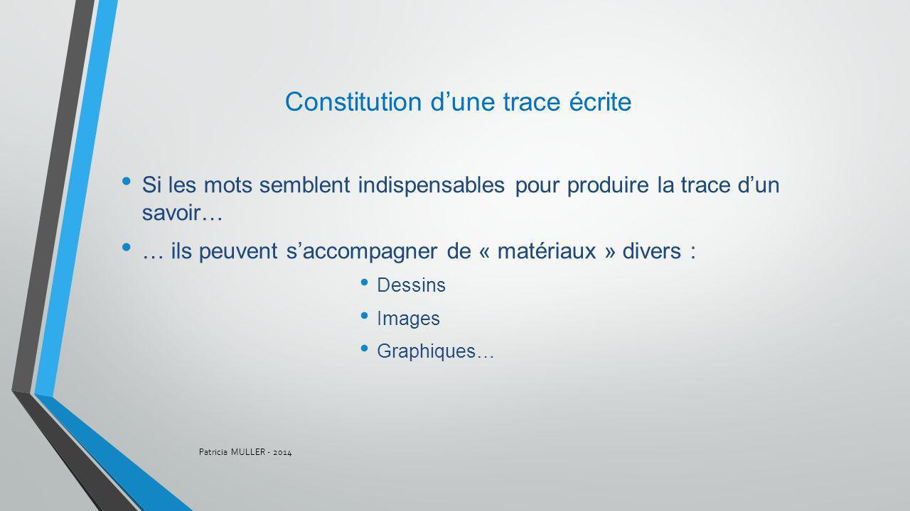 Si les mots semblent indispensables pour produire la trace dun savoir… … ils peuvent saccompagner de « matériaux » divers : Dessins Images Graphiques…