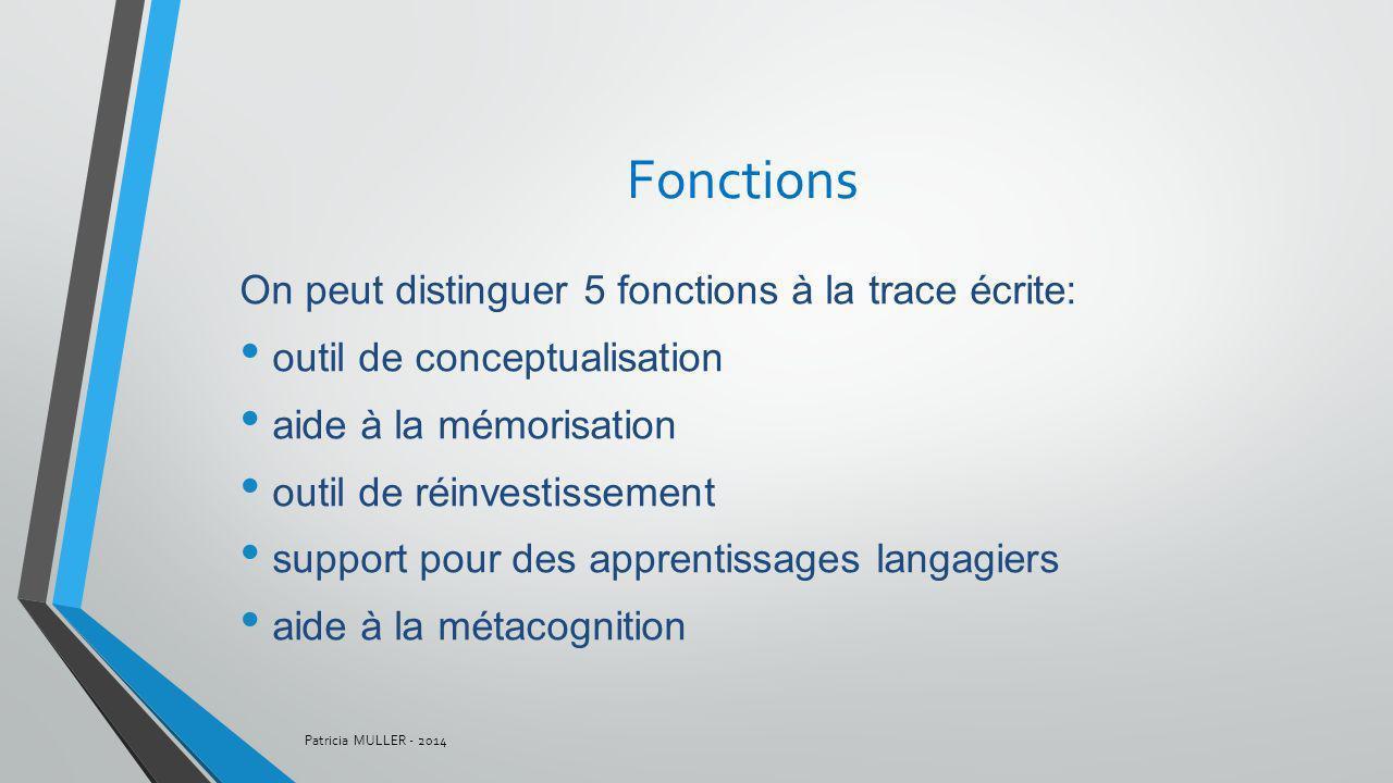 Fonctions On peut distinguer 5 fonctions à la trace écrite: outil de conceptualisation aide à la mémorisation outil de réinvestissement support pour d