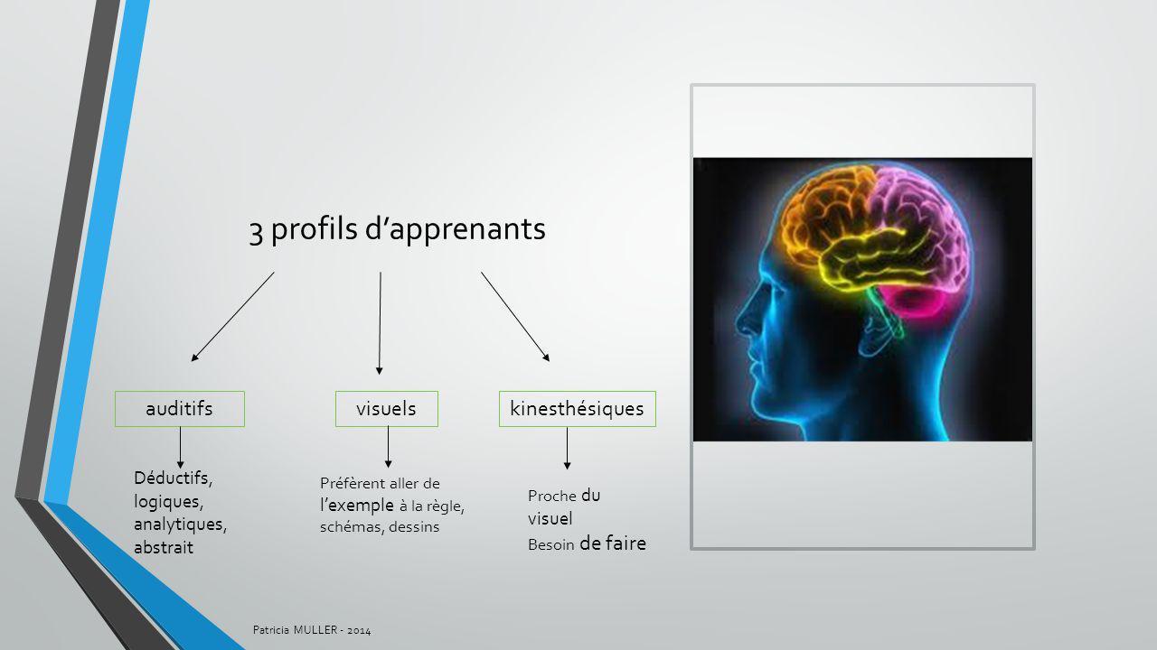 3 profils dapprenants auditifsvisuelskinesthésiques Déductifs, logiques, analytiques, abstrait Préfèrent aller de lexemple à la règle, schémas, dessin