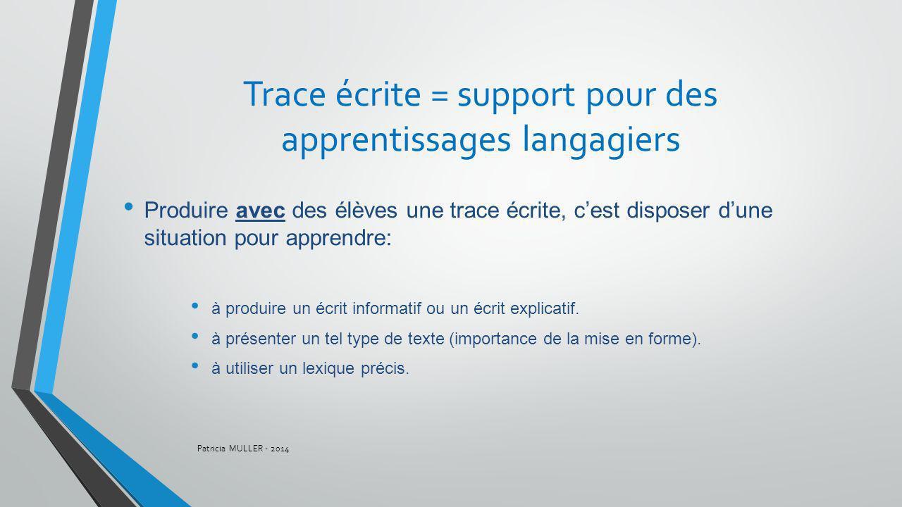 Trace écrite = support pour des apprentissages langagiers Produire avec des élèves une trace écrite, cest disposer dune situation pour apprendre: à pr
