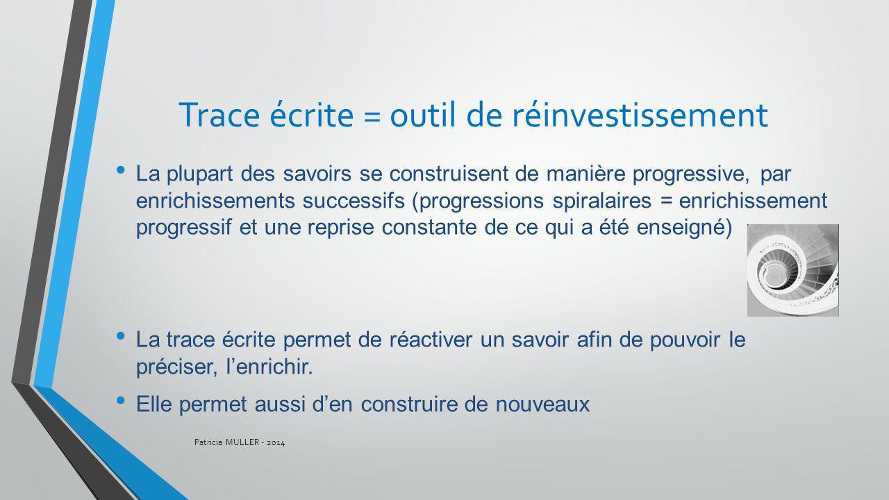Trace écrite = outil de réinvestissement La plupart des savoirs se construisent de manière progressive, par enrichissements successifs (progressions s