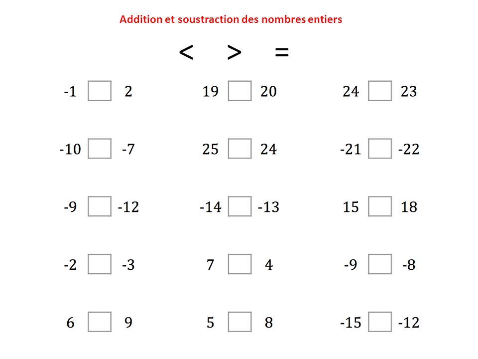 Addition et soustraction des nombres entiers <> =