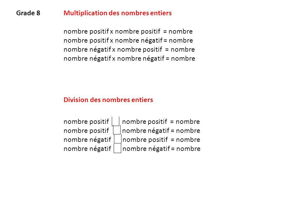 Multiplication des nombres entiers nombre positif x nombre positif = nombre nombre positif x nombre négatif = nombre nombre négatif x nombre positif =