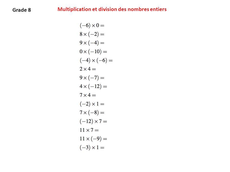 Multiplication et division des nombres entiers Grade 8