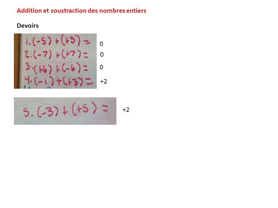 Addition et soustraction des nombres entiers <> =