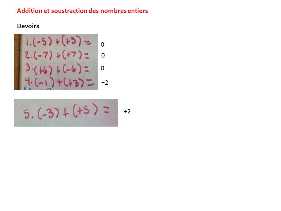 Addition et soustraction des nombres entiers 0 0 0 +2 Devoirs