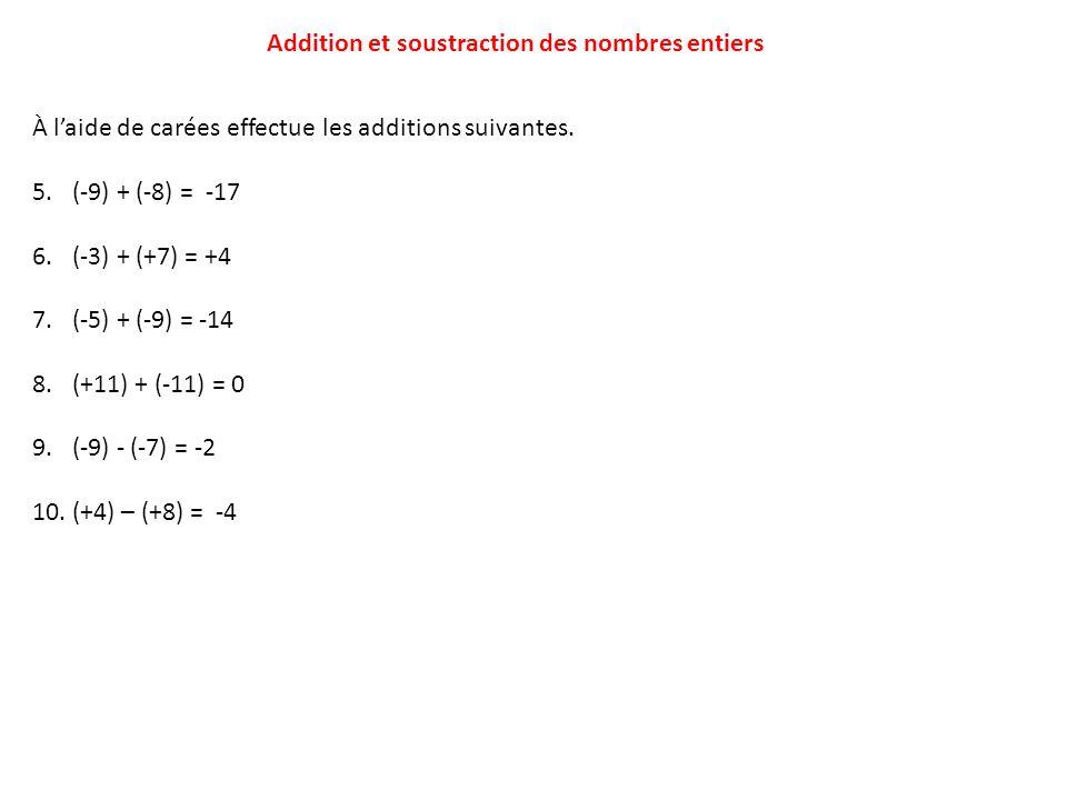 Addition et soustraction des nombres entiers À laide de carées effectue les additions suivantes. 5.(-9) + (-8) = -17 6.(-3) + (+7) = +4 7.(-5) + (-9)