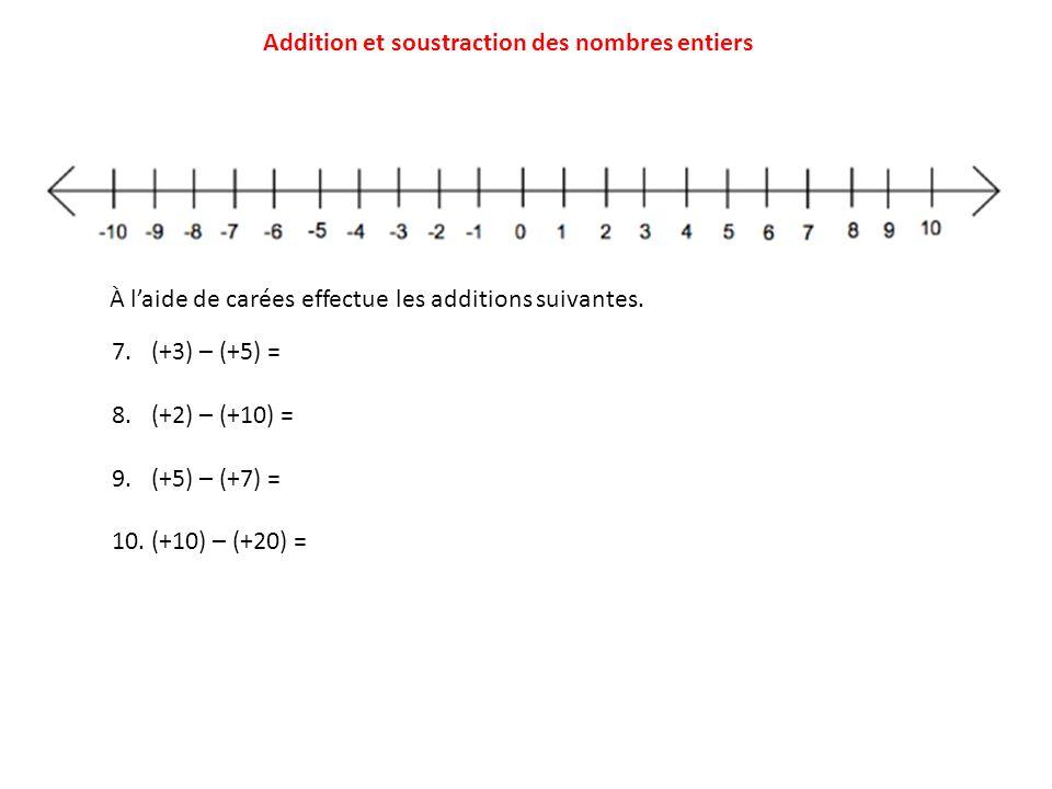 Addition et soustraction des nombres entiers 7.(+3) – (+5) = 8.(+2) – (+10) = 9.(+5) – (+7) = 10.(+10) – (+20) = À laide de carées effectue les additi