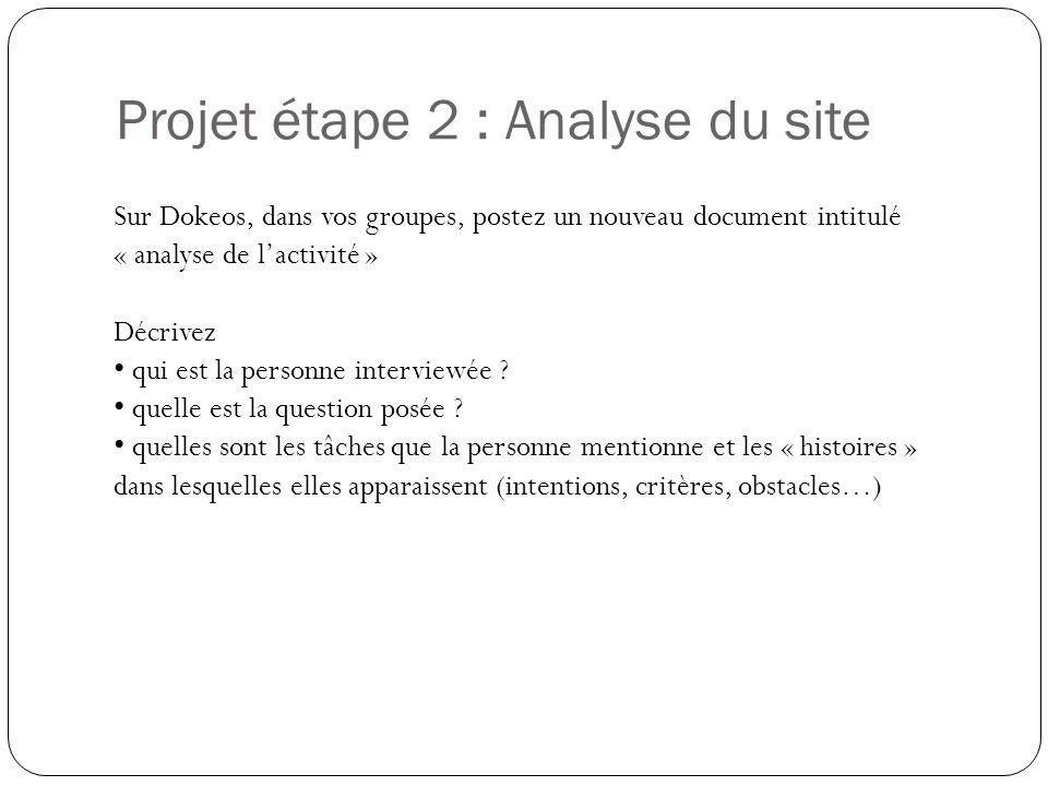 Projet étape 2 : Analyse du site Quel est le contenu proposé .
