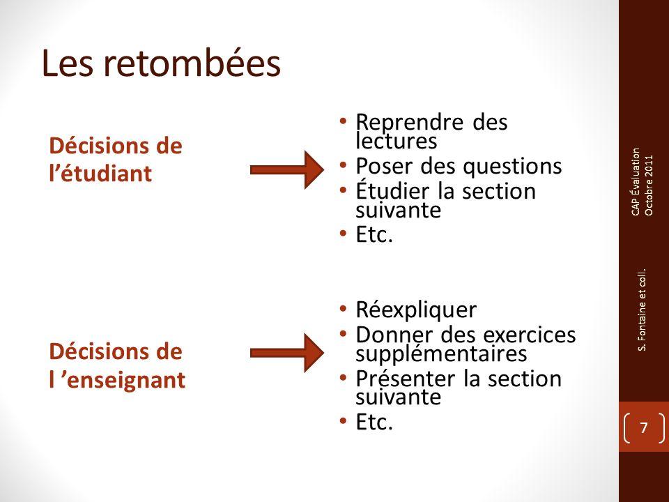 Les retombées Décisions de létudiant Décisions de l enseignant Reprendre des lectures Poser des questions Étudier la section suivante Etc.