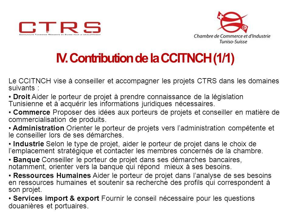 Le CCITNCH vise à conseiller et accompagner les projets CTRS dans les domaines suivants : Droit Aider le porteur de projet à prendre connaissance de la législation Tunisienne et à acquérir les informations juridiques nécessaires.