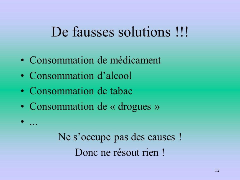 De fausses solutions !!! Consommation de médicament Consommation dalcool Consommation de tabac Consommation de « drogues »... Ne soccupe pas des cause