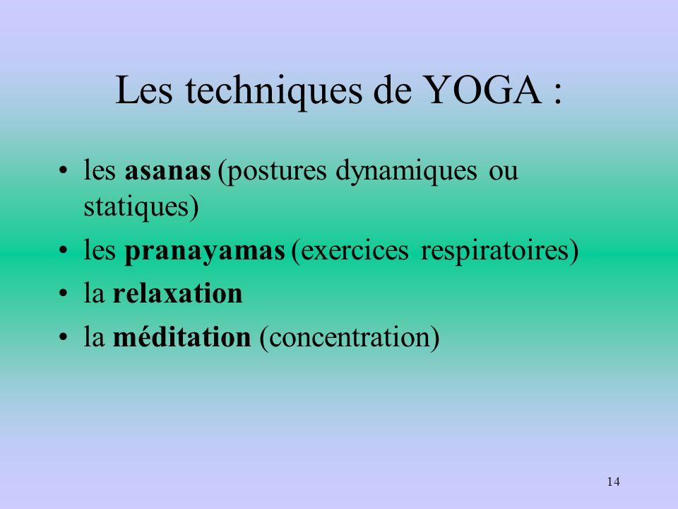 Les techniques de YOGA : les asanas (postures dynamiques ou statiques) les pranayamas (exercices respiratoires) la relaxation la méditation (concentra