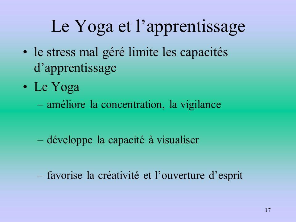 Le Yoga et lapprentissage le stress mal géré limite les capacités dapprentissage Le Yoga –améliore la concentration, la vigilance –développe la capaci