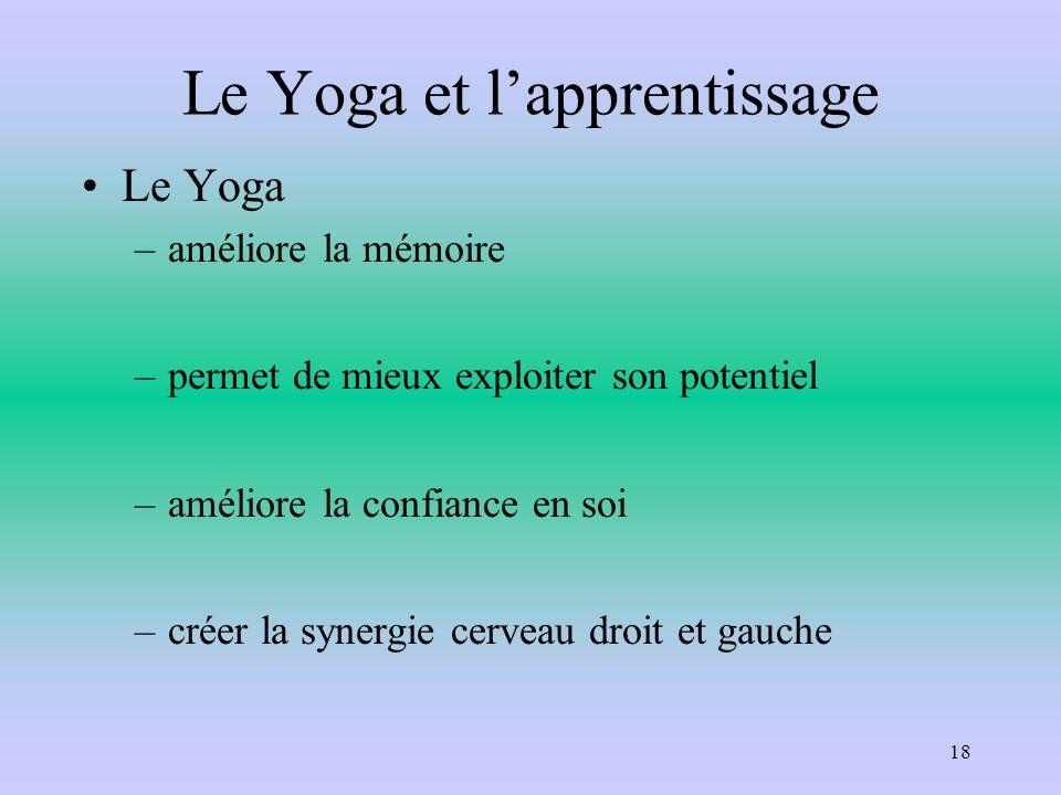 Le Yoga et lapprentissage Le Yoga –améliore la mémoire –permet de mieux exploiter son potentiel –améliore la confiance en soi –créer la synergie cerve
